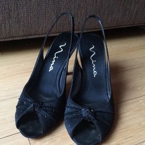 Fancy black Nina heels size 9.5